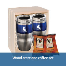 Wood crate and coffee set